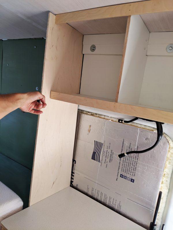 14 DIY Camper Van Conversion Upper Cabinets Open Cubbies Side Panel