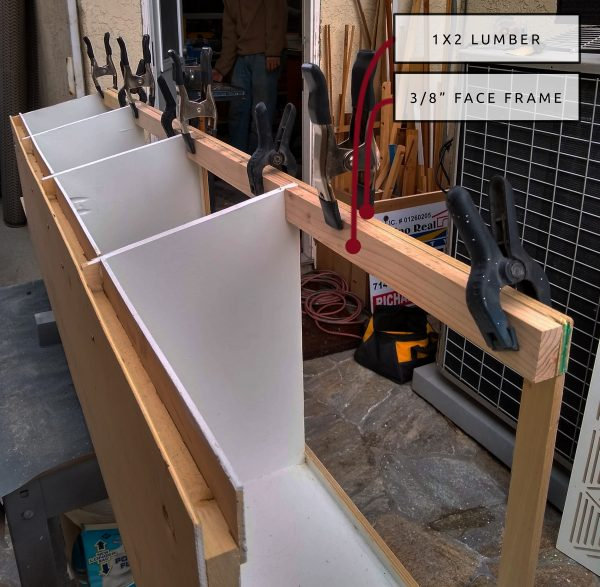 DIY Camper Van Conversion Upper Cabinets Face Frame Clamps