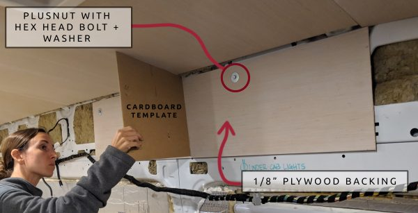 2 DIY Camper Van Conversion Upper Cabinets Cardboard Template