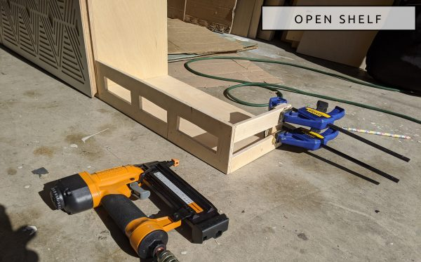 DIY Camper Van Conversion Upper Cabinets Open Shelf