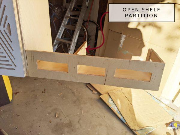 DIY Camper Van Conversion Upper Cabinets Open Shelf Partition