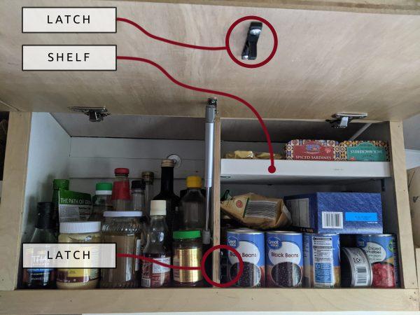 DIY Camper Van Conversion Upper Cabinets Shelves Latches