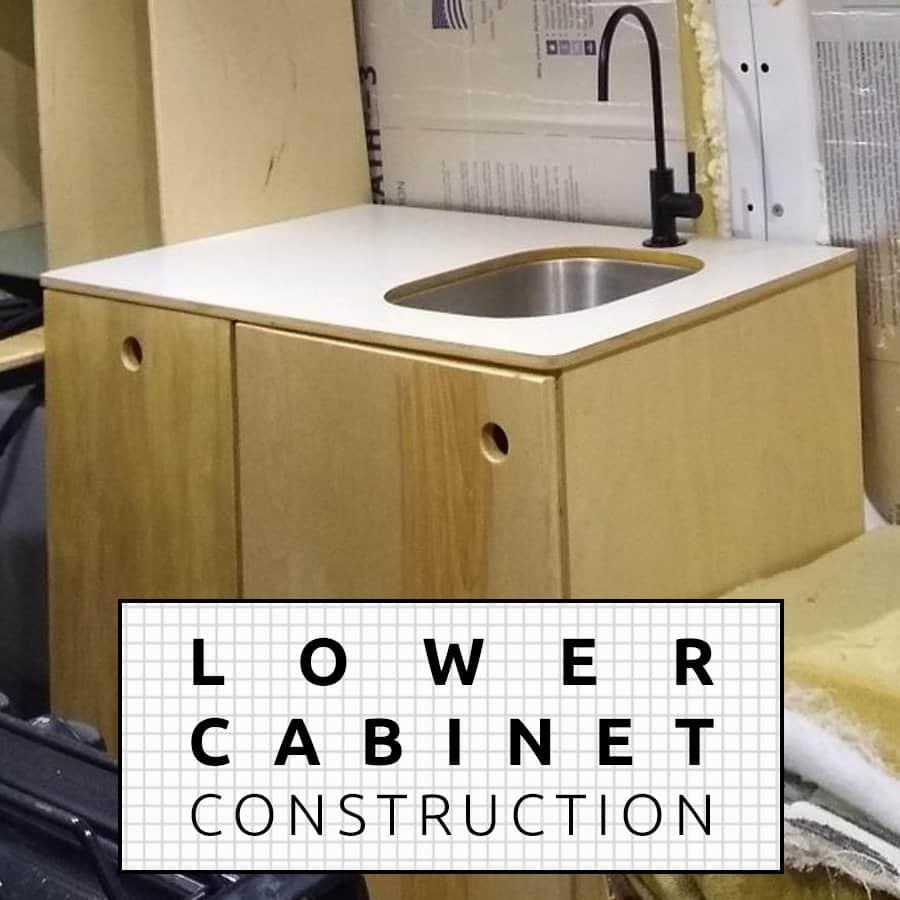 DIY Camper Van Conversion Ford Transit Kitchen Cabinets Gas Struts Concealed Hinges Latches