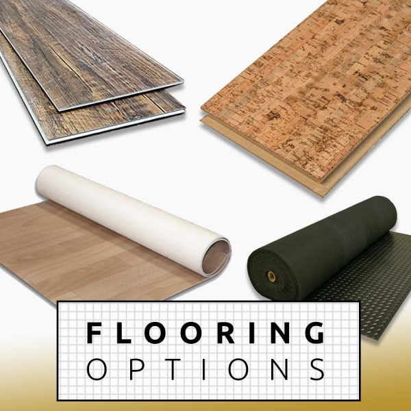 diy Camper Van conversion Flooring Options LVP LVT Sheet Vinyl Cork Rubber Laminate Linoleum Marmoleum Carpet
