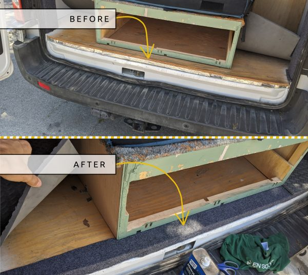 DIY CAMPER VAN CONVERSION AUTOMOTIVE CARPET ON BACK FLOOR TRANSITION