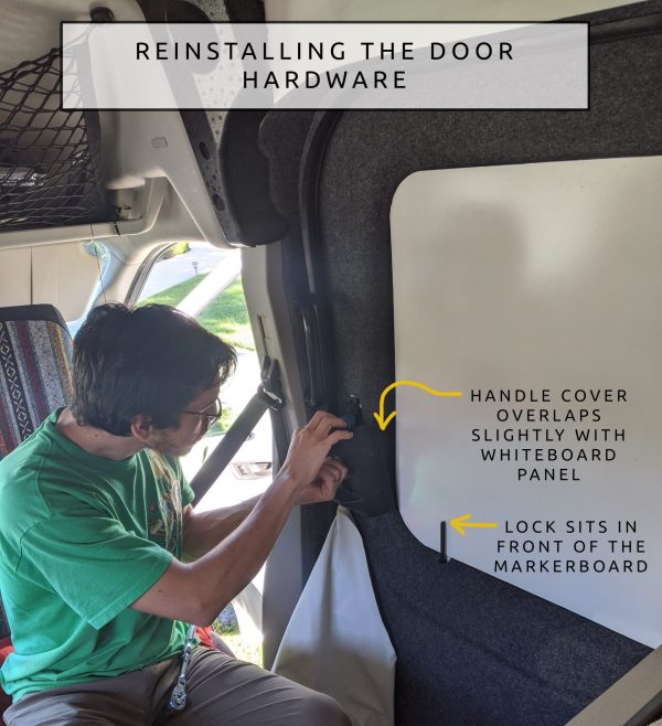 DIY CAMPER VAN CONVERSION sliding door REINSTALLING THE LOCK HARDWARE DOOR COVER