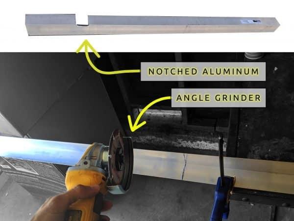 DIY Camper Van Conversion LVT Vinyl Flooring Aluminum Angle Transition Angle Grinder