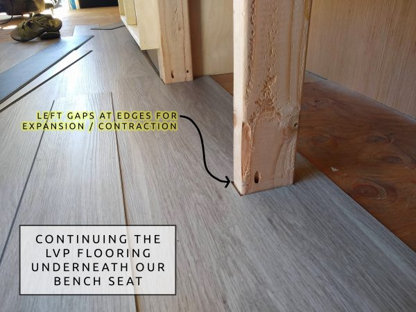 DIY Camper Van Conversion LVT VInyl Flooring At Cabinets Expansion Gaps