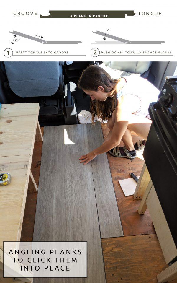 DIY Camper Van Conversion LVT VInyl Flooring Installation Diagram