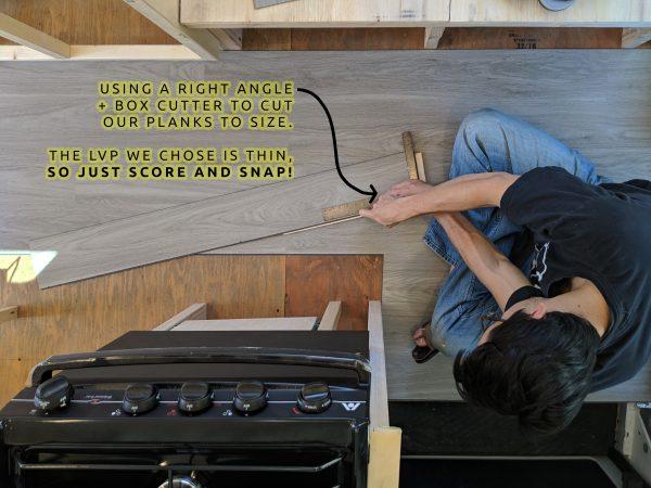 DIY Camper Van Conversion LVT VInyl Flooring Installation Right Angle and Box Cutter
