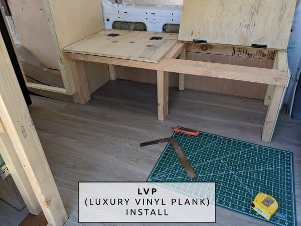 DIY Camper Van Conversion LVT VInyl Flooring Installation Under Bench Image