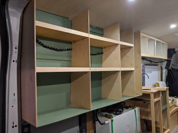 DIY Camper Van Conversion Open Cubby Wall Storage Solution 11