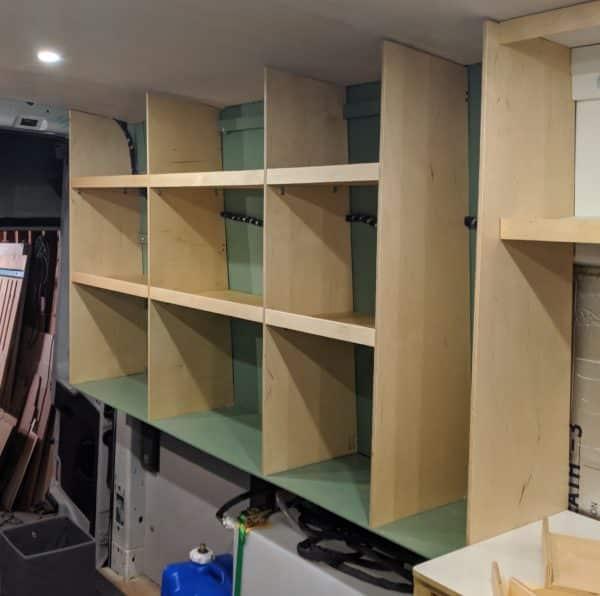 DIY Camper Van Conversion Open Cubby Wall Storage Solution 12