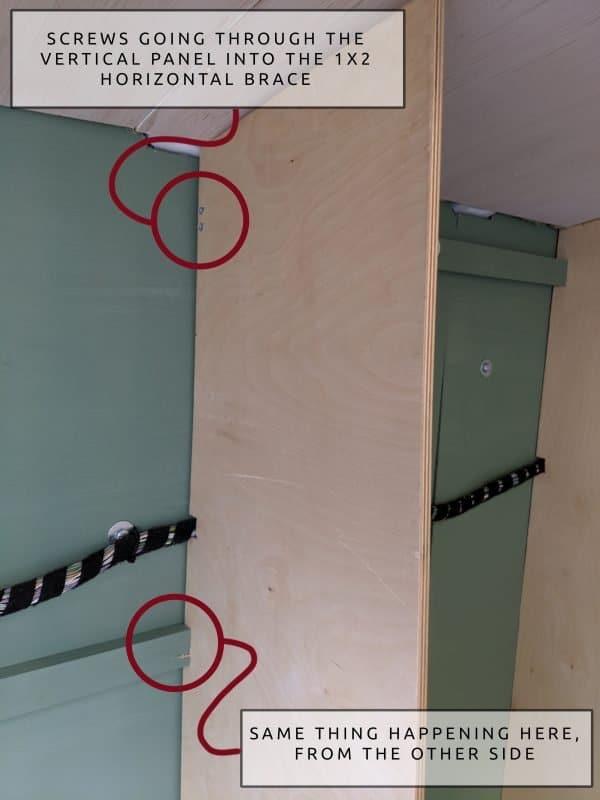 DIY Camper Van Conversion Open Cubby Wall Storage Solution Screws 6