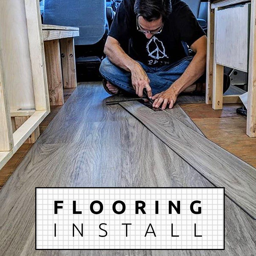 DIY Camper Van Build LVT Luxury Vinyl Tile Plank floor installation
