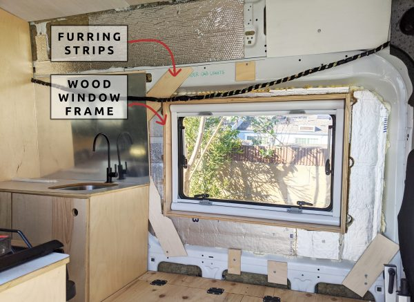 Wall Paneling Around Window DIY Camper Van Conversion