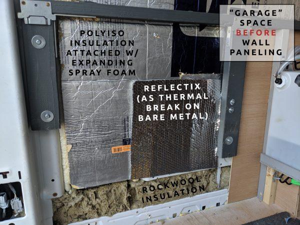 Wall Paneling Insulation in Garage Camper Van Build Conversion