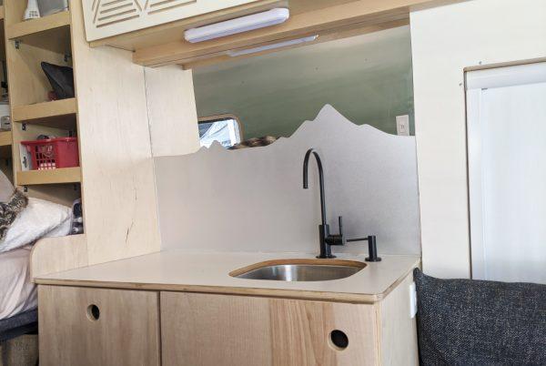 Wall Paneling Static Window Film on Mirror DIY Camper Van Conversion