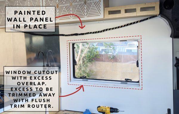 Wall Paneling around Flush Trim Router Window DIY Camper Van Conversion
