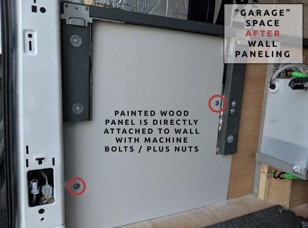 Wall Paneling in Garage Camper Van Build Conversion